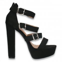 Sandale fashion, cu barete si toc inalt, negre - W604