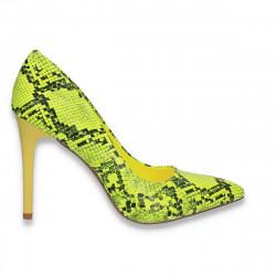Pantofi stiletto, cu toc inalt, verde-neon, animal print - W605