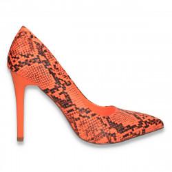 Pantofi stiletto, cu toc inalt, portocaliu-neon, snake print - W606