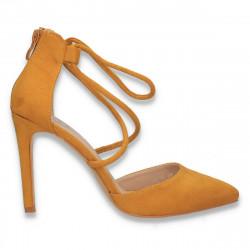 Pantofi eleganti, cu toc stiletto, galbeni - W609
