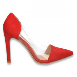 Pantofi stiletto, cu insertii de silicon, rosii - W612