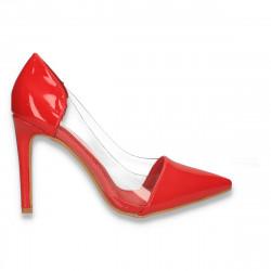 Pantofi stiletto, din lac, cu insertii de silicon, rosii - W611