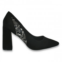 Pantofi eleganti, cu toc gros, negri cu insertii animal print - W614