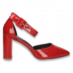 Pantofi eleganti, din lac, cu varf ascutit, rosii - W615