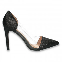 Pantofi stiletto, cu insertii de silicon, negri cu glitter - W616