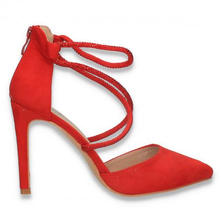 Pantofi eleganti, cu toc stiletto si barete cu strasuri, rosii - W617
