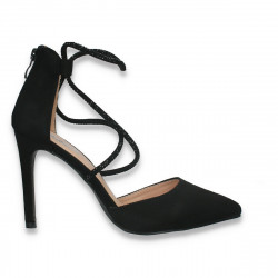 Pantofi eleganti, cu toc stiletto si barete cu strasuri, negri - W618