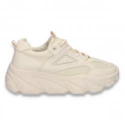 Sneakers bej, pentru dama, talpa groasa - W620