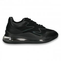 Sneakers trendy dama, cu perna de aer, negri - W621