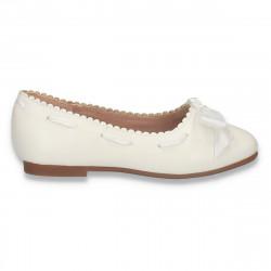 Balerini fete albi, cu fundita din satin - W625