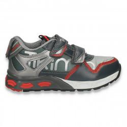 Pantofi  sport, cu leduri pentru baieti, gri - W626