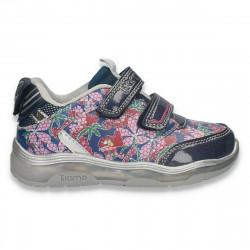 Pantofi sport cu leduri, model floral, pentru fetite, mov - W627