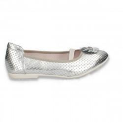 Balerini pentru fetite, cu bareta elastica, argintii - W630