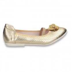 Balerini pentru fetite, cu bareta elastica, aurii - W634