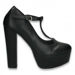 Pantofi femei, cu platforma si toc inalt, negri - W637