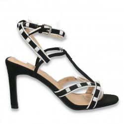 Sandale dama, elegante, cu toc, alb-negru - W640