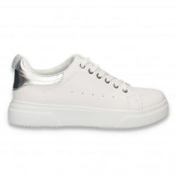 Sneakers dama casual, alb-argintiu - W641