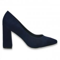 Pantofi eleganti, cu toc gros, bleumarin - W645