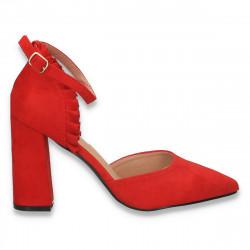 Pantofi eleganti, cu varf ascutit si bareta, rosii - W647