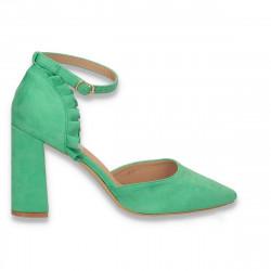 Pantofi eleganti, cu varf ascutit si bareta, verde inchis - W648