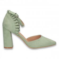 Pantofi eleganti, cu varf ascutit si bareta, verde deschis - W649