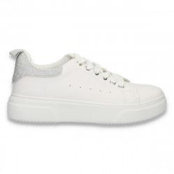 Sneakers dama casual, alb-argintiu cu glitter - W650