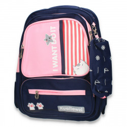 Rucsac mare, pentru fetite, cu penar, bleumarin-roz - M271