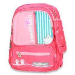 Rucsac mare, pentru fetite, cu penar, roz - M272