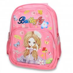 Rucsac fete, cu imprimeu, Butterfly, roz - M293