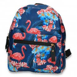 Rucsac din piele ecologica, cu imprimeu flamingo, albastru - M299