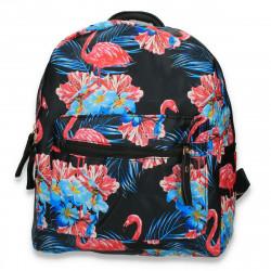 Rucsac din piele ecologica, cu imprimeu flamingo, negru - M300
