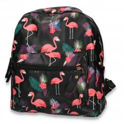 Rucsac din piele ecologica, negru, flamingo - M303