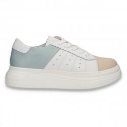 Pantofi casual pentru femei, din piele, alb-bej-verde mint - W653