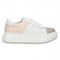 Pantofi casual pentru femei, din piele, alb-taupe-roz - W654