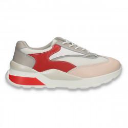 Sneakers casual pentru femei, din piele+textil, alb-rosu-roz - W655