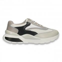 Sneakers casual pentru femei, din piele+textil, alb-negru-gri - W656
