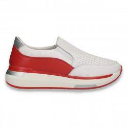 Pantofi din piele pentru dama, cu perforatii, alb-rosu - W657