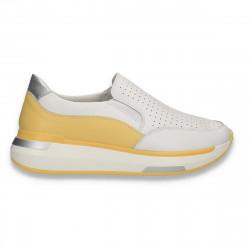 Pantofi din piele pentru dama, cu perforatii, alb-galben - W658