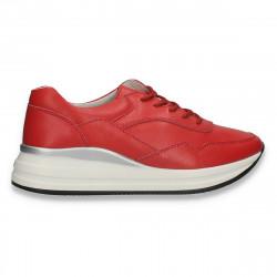 Sneakers casual pentru femei, din piele, rosu - W659