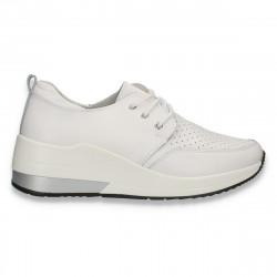 Sneakers casual pentru femei, cu perforatii, din piele, albi - W660
