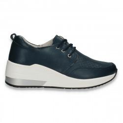 Sneakers casual pentru femei, cu perforatii, din piele, bleumarin - W661
