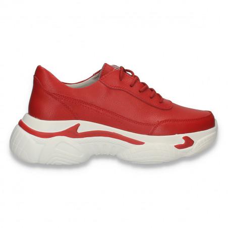 Pantofi sport dama, din piele, cu talpa groasa, rosii - W663