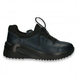 Pantofi casual pentru femei, din piele, bleumarin - W665