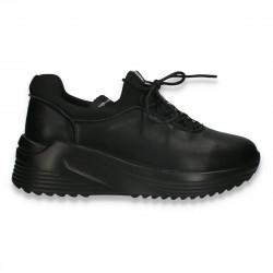 Pantofi casual pentru femei, din piele, negri - W666