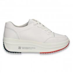 Sneakers casual pentru femei, cu talpa inalta, din piele, albi - W667