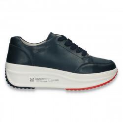Sneakers casual pentru femei, cu talpa inalta, din piele, albi - W668