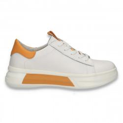 Pantofi casual pentru femei, din piele, alb-galben - W669
