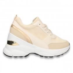 Sneakers casual dama, cu talpa groasa, bej-auriu - W672