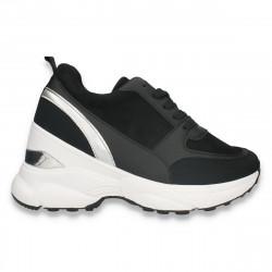 Sneakers casual dama, cu talpa groasa, negru-argintiu - W673