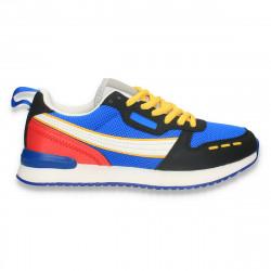 Sneakers colorati pentru dama, cu talpa subtire, albastru-negru - W674